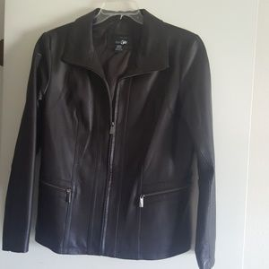 Brown Leather Jacket by east 5th Size Large NWOT